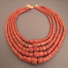 """Coral, Mediterranean see   Description  The splendid ancient coral (early 20th century) and adorned with a coral from Tore del Greco near Naples ... the clasp in silver was made especially for the 5 rows up falling exceptionally well as you can see the different pictures!  Weight:380gr    www.halter-ethnic.com...see """"My Lucky Finds"""""""