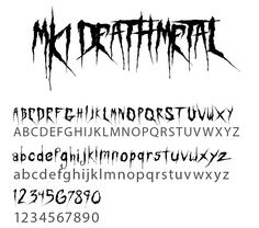 """Death Metal Font"" by MindKillerInk (MKI), was inspired by death metal. All fonts are Open-Type format & can be used on both Mac and PC. Tattoo Lettering Styles, Hand Lettering Fonts, Graffiti Lettering, Typography Fonts, Tattoo Fonts, Script Tattoos, Metal Font, Metal Letters, Death Metal"