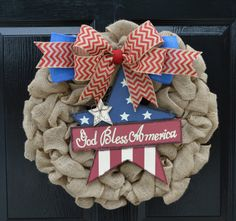 4th of July Wreaths 4th of July Burlap by WelcomeHomeCreative