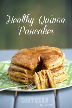 Healthy Quinoa Pancakes- add some peanut butter and maple syrup for perfection