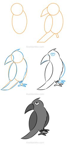 How to draw a crow - Comment dessiner un corbeau