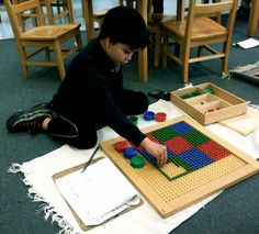Elementary student using algebraic peg board to discover and fully understand square roots.