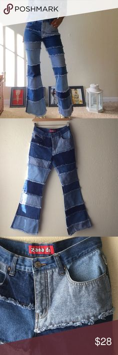 RETRO Zana Di Denim Patchwork Jeans Totally 90's!!!! Frayed and flared. I used to love Zana Di! These are in almost perfect condition, shows a light stain on the front right side (pictured). Barely noticeable. All the frays are in tact, no holes, zipper works great! Overall amazing denim! Says it's a 5, but I'm a women's 4 and these fit just right! zana di Jeans Flare & Wide Leg