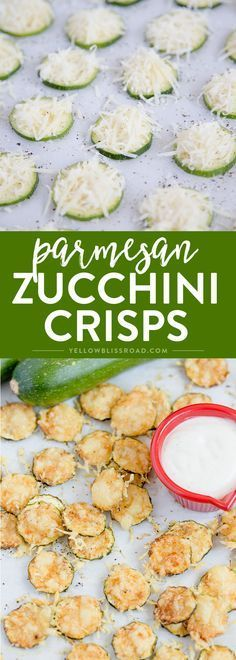 Parmesan Zucchini Crisps are a healthy snack that is simple and easy to make with just two ingredients, plus some Hidden Valley®️️ Simply Ranch for dipping! # Food and Drink health Baked Parmesan Zucchini Chips Veggie Recipes, Appetizer Recipes, Low Carb Recipes, Diet Recipes, Vegetarian Recipes, Cooking Recipes, Recipies, Vegetable Snacks, Hidden Vegetable Recipes