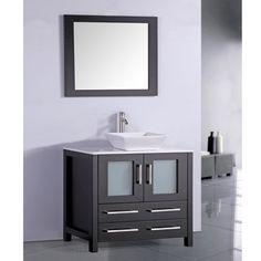 Legion Furniture White Artificial Stone Top 36-inch Vessel Sink Espresso Bathroom Vanity and Matching Fram