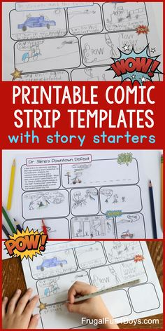 Printable Comic Strip Templates with Story Starters - Frugal Fun For Boys and Girls