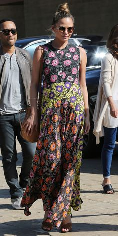 Chrissy Teigen Shows Off Her Flower Power Maternity Style on a Date with John…