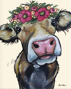 Cow art print from original canvas cow painting. Cow with Flower Crown, Farmhous… Cow art print from original canvas cow painting. Cow with Flower Crown, Farmhouse cow art, Cow on canvas art, Fine art or canvas cow print – Cow Canvas, Large Canvas, Canvas Frame, Fine Art Prints, Canvas Prints, Cow Art, Animal Sketches, Baby Animal Drawings, Art Sketches