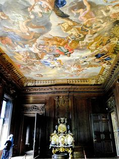 Chatsworth House ceiling detail , UK