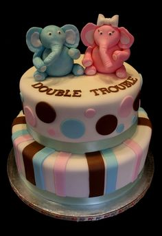 Double Trouble babyshower cake for twins! Fondant figures! - That would be cute. Without the pink obviously.