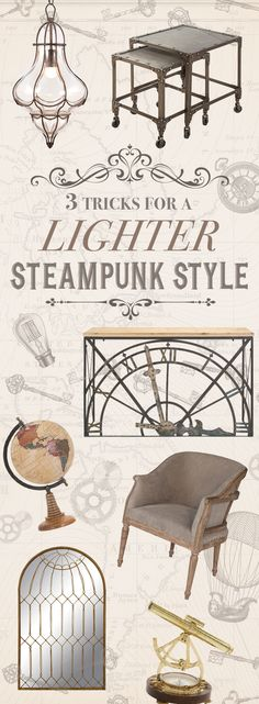 3 Tricks for a Lighter Steampunk Style: With our favorite core pieces, like the geared wall clock and gramophone, this take on the aesthetic has all the raw power we expect, but with a gentle twist. Steampunk is all about bringing things together, so join us as we lighten industrial with this new take on the aesthetic. Shop Now at dotandbo.com!