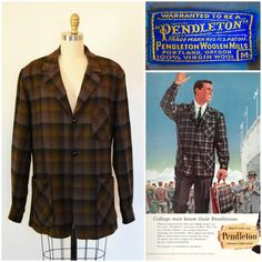 Vintage Pendleton Jacket/ Brown Shadow Plaid 50s-60s Men's Shirt Jacket/ Oversized Boyfriend Jacket/ 49er Topster Traveller Coat/Virgin Wool by GloryTrain on Etsy https://www.etsy.com/listing/499009312/vintage-pendleton-jacket-brown-shadow