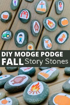 Encourage imaginative play by creating these DIY Fall themed Story Stones with our FREE printable! How to make story stones. DIY story stones printable. #storystones #storystonesprintables #DIYstorystones #DIYlearningactivities #homeschool #montessori #naturebasedlearning #learningthroughplay #Fallprintablesforkids #Falllearningactivities #inspirationforFall