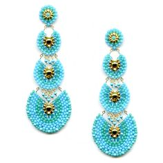 Miguel Ases Turquoise and Swarovski Graduated Scalloped Earrings. Handcrafted in NYC.