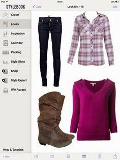 grey suede boots, flanel shirt, dark jeans, burgundy cardigan