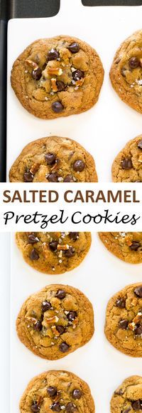 Soft and Chewy Salted Caramel Pretzel Chocolate Chip Cookies. These cookies are loaded with chocolate chips, pretzels and caramel sauce!   chefsavvy.com #recipe #salted #caramel #pretzel #cookies #dessert #chocolate