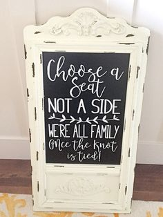 Choose a Seat not a side lettering. This is a DIY Wedding DECAL to apply to the surface of your choice. *Chalkboard is just an inspiration