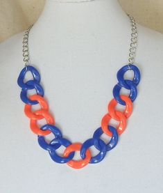 """Team Colors,Adjustable 22""""Long,Statement Necklace,Chunky Navy Blue and Orange,Light Weight Acrylic,30x32mm Links,#SJ5004N by ckdesignsforyou. Explore more products on http://ckdesignsforyou.etsy.com"""