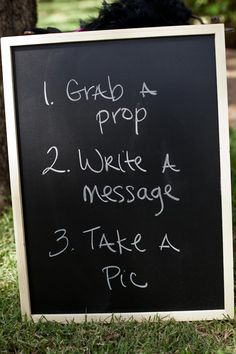 Chalkboard for the wedding photo booth