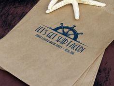 Nautical Wedding: Custom Favor Bags / Candy Buffet #nauticalwedding #anchorsaweight #nauticalfavor