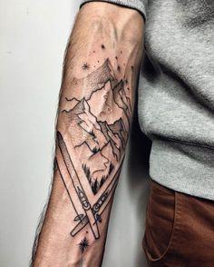 Ski-passion tattoo by Sasha Kiseleva