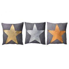 Set Of 3 Star Foil Print Cushions
