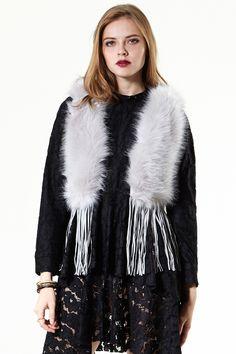 Go West Fringed Faux Fur Vest Discover the latest fashion trends online at storets.com #Fringed Suede Coat  #cuff jacket   #denim coat