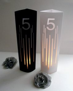 Table Numbers, Table Markers, Luminaries, Cusotm Table Markers, Unique Table Markers. $2.00, via Etsy.