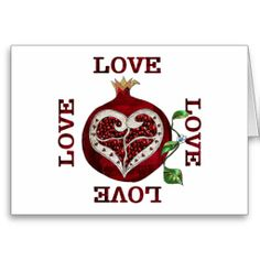 Pomegranate Heart LOVE Valentine Card by Lee Hiller #Photography and Designs