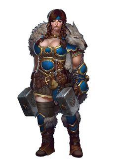 Female Dwarf Ranger or Barbarian - Pathfinder PFRPG DND D&D 3.5 5th ed d20 fantasy