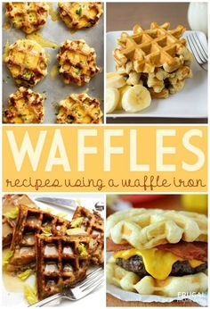 Waffle Recipe Ideas on Frugal Coupon Living including Mashed Potato Cheddar and Chive Waffles,  Banana Bread Waffles,   Thanksgiving Stuffing Waffles and Gravy, and Waffled Bun Bacon Cheeseburgers.