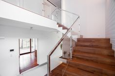 Interior Railings Vancouver - Aluminum Guardrail & Handrails (Commercial / Residential) - Metro Vancouver Railings Glass Stair Balustrade, Frameless Glass Balustrade, Interior Staircase, Staircase Design, Open Staircase, Staircase Ideas, Small Space Living, Living Spaces, Living Room
