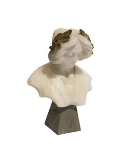 She's so beautiful! | French Carved Marble Woman with Laurel Wreath  | Via @The_HighBoy at http://www.thehighboy.com | #antiques #decor #French