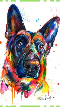 Bright and colorful German Shepherd art, print of my original watercolor painting #ad