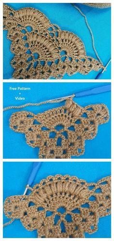Filet Crochet, Crochet Motifs, Crochet Stitches Patterns, Thread Crochet, Crochet Designs, Stitch Patterns, Knitting Patterns, Crochet Shell Stitch, Crochet Instructions