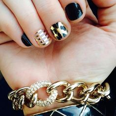 Jamberry Darkest Black and Gold Leopard and Metallic Gold Pinstripe