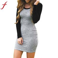 Fashion Autumn Winter Dress Women Splice Color Long Sleeve Bodycon Evening  Party knitting Patchwork Mini Club b94df9e87fe7