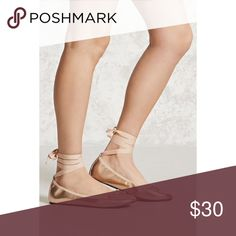 """ROSE GOLD METALLIC LACE UP FLATS ♡ DETAILS:  A PAIR OF FAUX LEATHER BALLET FLATS COMPLETE WITH A METALLIC SHEEN, LACE-UP TIES AT THE ANKLE, & A DECORATIVE BOW ACCENT.   ♡ BRAND NEW WITH TAGS (BWT) ♡ PADDED INSOLE, TEXTURED OUTSOLE ♡ UPPER, LINING, & OUTSIDE: 100% POLYURETHANE ♡ INSOLE: 100% RUBBER ♡ SHAFT HEIGHT: 3"""" ♡ SIZE 7.5 ♡ NO TRADES Shoes Flats & Loafers"""