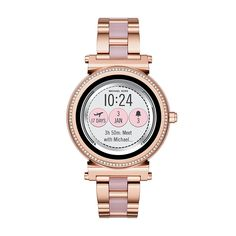 Powered by Android Wear, the Michael Kors Access Sofie rose gold-tone touchscreen smartwatch with full-round display and pave crystal top ring connects Watch Faces, Unisex, Casual Watches, Trendy Watches, Bulova, Luxury Watches, Michael Kors Watch, Micheal Kors Smart Watch, Rose Gold
