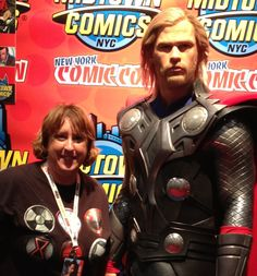 Me with Thor! This is a wax figure from Madame Tousads so it's the exact replica of Chris. He is TALL! #NYCC