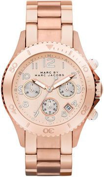 shopstyle.com: Marc by Marc Jacobs Watch, Women's Chronograph Rose Gold Ion Plated Stainless Steel Bracelet 40mm MBM3156