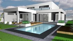 Us find photos ideas of design interior. Get inspired! Modern Architecture House, Architecture Design, Modern House Facades, Morden House, Flat Roof House, Modern Bungalow House, Modern Villa Design, Model House Plan, House Front Design