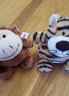Kaufe meinen Artikel bei #Mamikreisel http://www.mamikreisel.de/spielzeug/kuscheltiere/41546585-zwei-kleine-schmusefreunde-tiger-und-affe