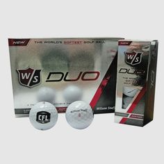 CFL Wilson Staff DUO Golf Balls 12Pk / Balles de golf de la LCF DUO de Wilson Staff (paquet de 12). Get your NEW CFL black and white logo Wilson Staff DUO golf balls.  With its ground-breaking 29 compression, the new and improved Wilson Staff DUO is the World's softest golf ball.  Designed for the distance player seeking less spin off the tee and a soft feel around the greens.  The DUO is the industry leader in low compression technology.  Quantity: 12 GOLF BALLS PER PACK Black And White Logos, Golf Ball, Spin, Distance, Balls, Technology, Collection, Tech, Long Distance