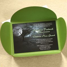 Full Moon Halloween Wedding Invitation - Deep red or purple pocket fold would be better.