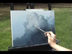Big Puffy Clouds time lapse speed painting in acrylic by Tim Gagnon