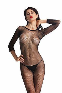 #womensfashion Amoretu Womens Long Sleeve Fishnet Bodystocking Crotchless Classic Body Stockings: Women's Clothing… #womensclothing