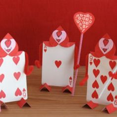 Sweet Suitors — Valentine's Day cards made to look like the Queen of Hearts' army in Alice in Wonderland