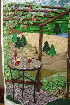 wow - beautiful winery quilt wall hanging!