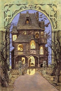 ☾☾ Halloween Ѽ All Hallows ☾☾ The Haunted House - Tomislav Tomic Spooky House, Halloween Haunted Houses, Halloween House, Halloween Art, Holidays Halloween, Halloween Themes, Halloween Decorations, Vintage Halloween Cards, Halloween Witches